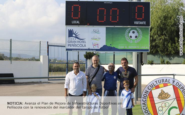 Avanza el Plan de Mejora de Infraestructuras Deportivas en Peñíscola con la renovación del marcador del campo de fútbol